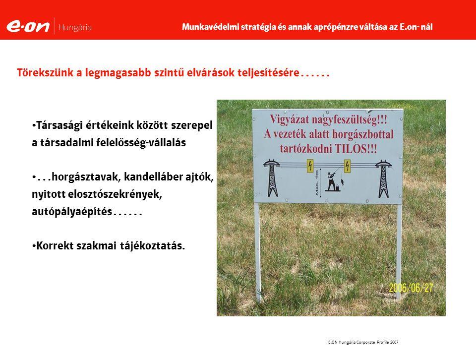 E.ON Hungária Corporate Profile 2007 Törekszünk a legmagasabb szintű elvárások teljesítésére…… Társasági értékeink között szerepel a társadalmi felelősség-vállalás …horgásztavak, kandelláber ajtók, nyitott elosztószekrények, autópályaépítés…… Korrekt szakmai tájékoztatás.