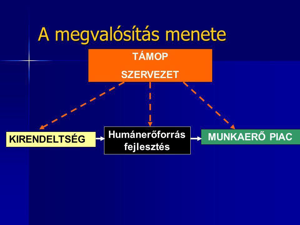 A megvalósítás menete TÁMOP SZERVEZET Humánerőforrás fejlesztés MUNKAERŐ PIAC KIRENDELTSÉG