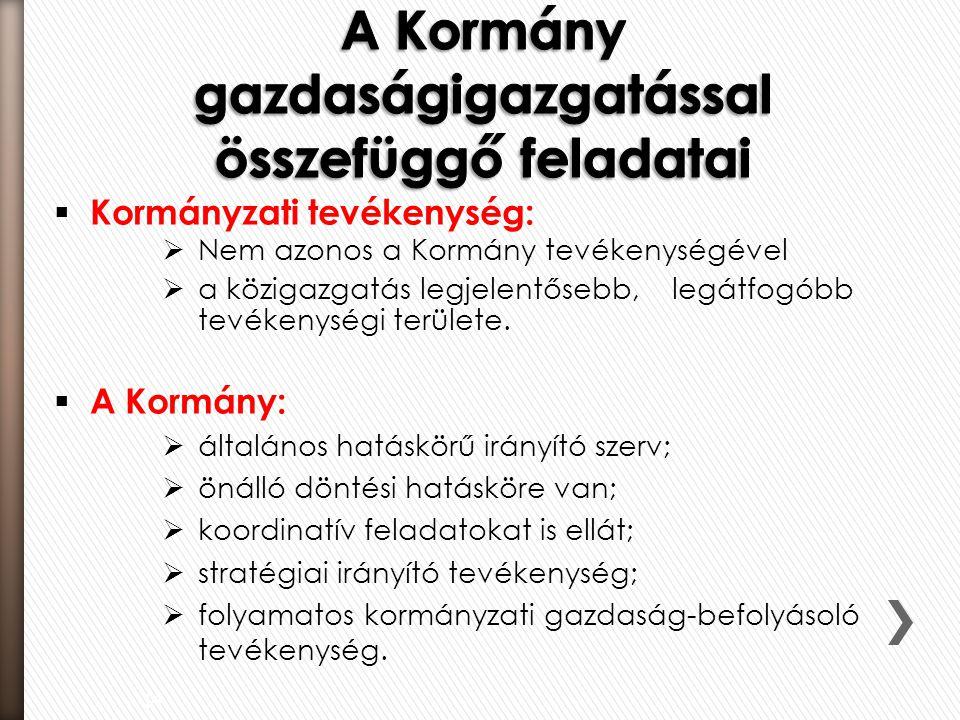  Kormányzati tevékenység:  Nem azonos a Kormány tevékenységével  a közigazgatás legjelentősebb, legátfogóbb tevékenységi területe.  A Kormány:  á