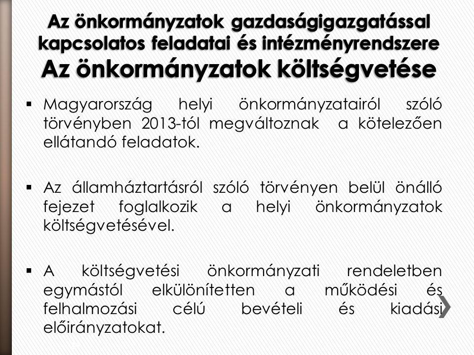  Magyarország helyi önkormányzatairól szóló törvényben 2013-tól megváltoznak a kötelezően ellátandó feladatok.  Az államháztartásról szóló törvényen
