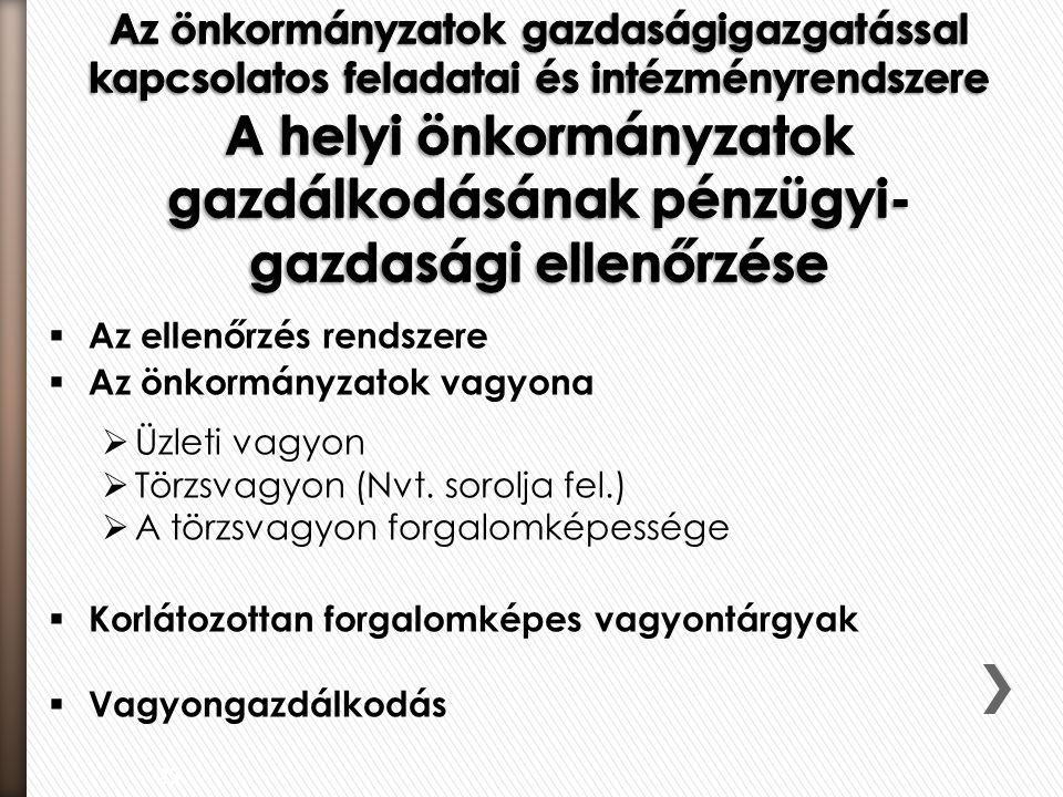  Az ellenőrzés rendszere  Az önkormányzatok vagyona  Üzleti vagyon  Törzsvagyon (Nvt. sorolja fel.)  A törzsvagyon forgalomképessége  Korlátozot