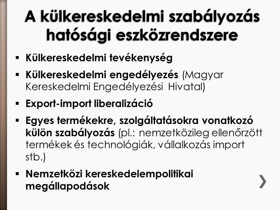  Külkereskedelmi tevékenység  Külkereskedelmi engedélyezés (Magyar Kereskedelmi Engedélyezési Hivatal)  Export-import liberalizáció  Egyes termékekre, szolgáltatásokra vonatkozó külön szabályozás (pl.: nemzetközileg ellenőrzött termékek és technológiák, vállalkozás import stb.)  Nemzetközi kereskedelempolitikai megállapodások 34
