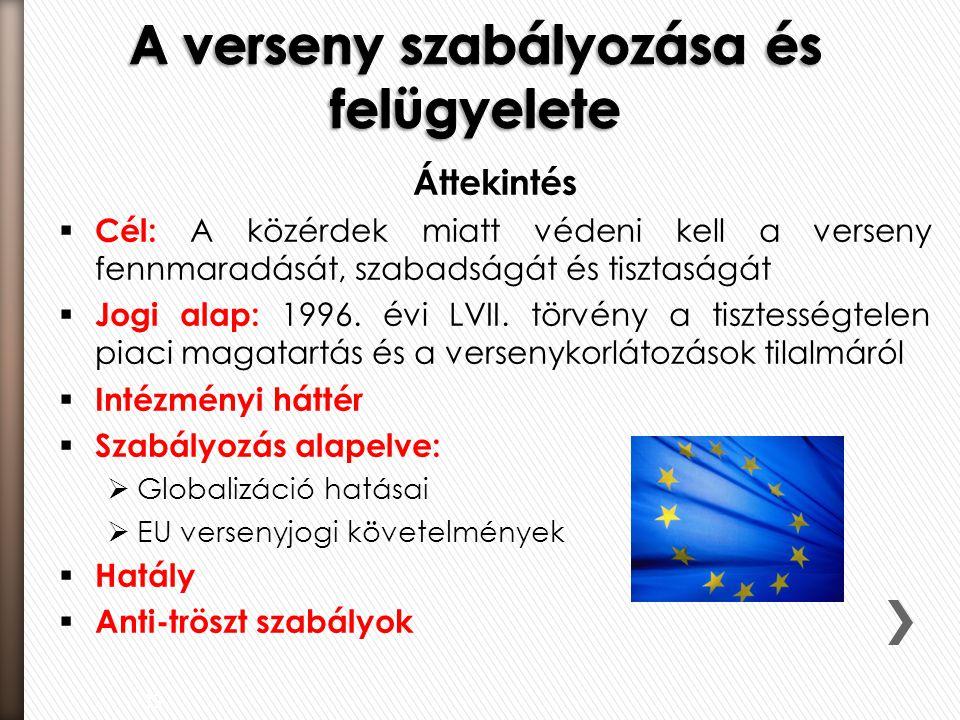 Áttekintés  Cél: A közérdek miatt védeni kell a verseny fennmaradását, szabadságát és tisztaságát  Jogi alap: 1996. évi LVII. törvény a tisztességte