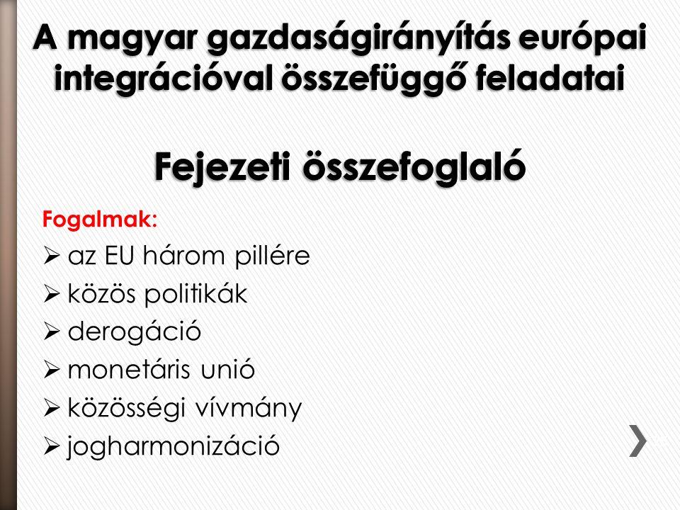 Fogalmak:  az EU három pillére  közös politikák  derogáció  monetáris unió  közösségi vívmány  jogharmonizáció 75