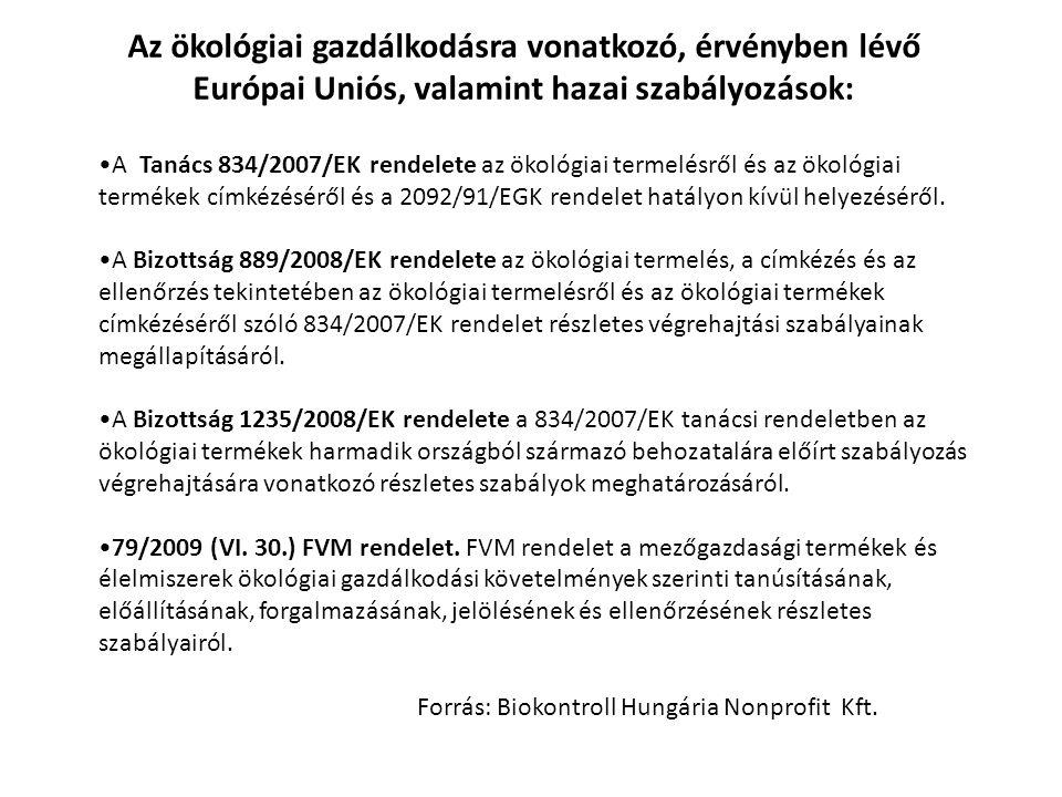 Az ökológiai gazdálkodásra vonatkozó, érvényben lévő Európai Uniós, valamint hazai szabályozások: A Tanács 834/2007/EK rendelete az ökológiai termelés