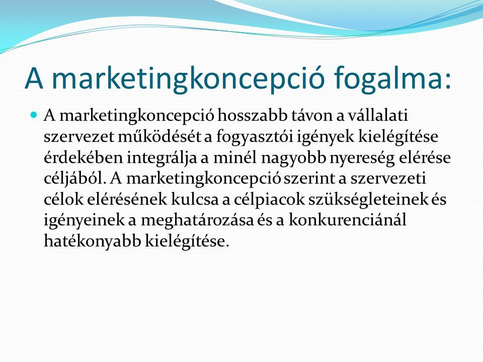 A marketingkoncepció fogalma: A marketingkoncepció hosszabb távon a vállalati szervezet működését a fogyasztói igények kielégítése érdekében integrálj