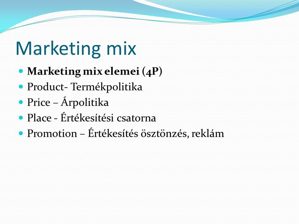 Marketing mix Marketing mix elemei (4P) Product- Termékpolitika Price – Árpolitika Place - Értékesítési csatorna Promotion – Értékesítés ösztönzés, re