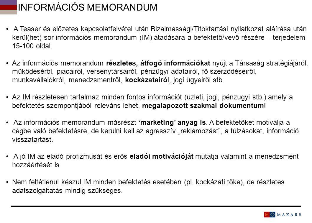 INFORMÁCIÓS MEMORANDUM A Teaser és előzetes kapcsolatfelvétel után Bizalmassági/Titoktartási nyilatkozat aláírása után kerül(het) sor információs memo