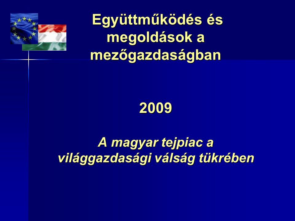 Együttműködés és megoldások a mezőgazdaságban 2009 A magyar tejpiac a világgazdasági válság tükrében Együttműködés és megoldások a mezőgazdaságban 200