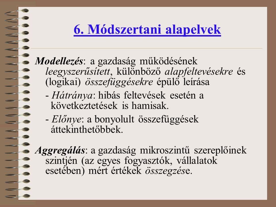 Modellezés:a gazdaság működésének leegyszerűsített, különböző alapfeltevésekre és (logikai) összefüggésekre épülő leírása - Hátránya: hibás feltevések