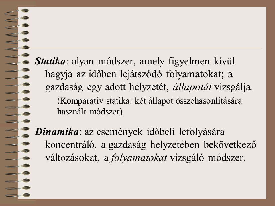 Statika: olyan módszer, amely figyelmen kívül hagyja az időben lejátszódó folyamatokat; a gazdaság egy adott helyzetét, állapotát vizsgálja. (Komparat