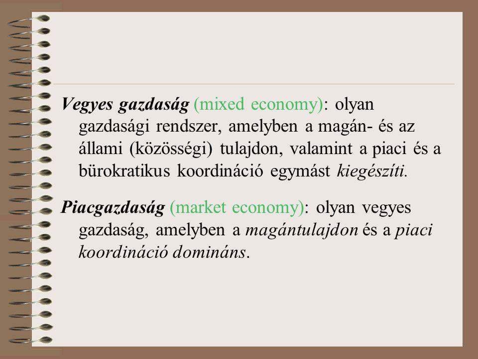 Vegyes gazdaság (mixed economy): olyan gazdasági rendszer, amelyben a magán- és az állami (közösségi) tulajdon, valamint a piaci és a bürokratikus koo