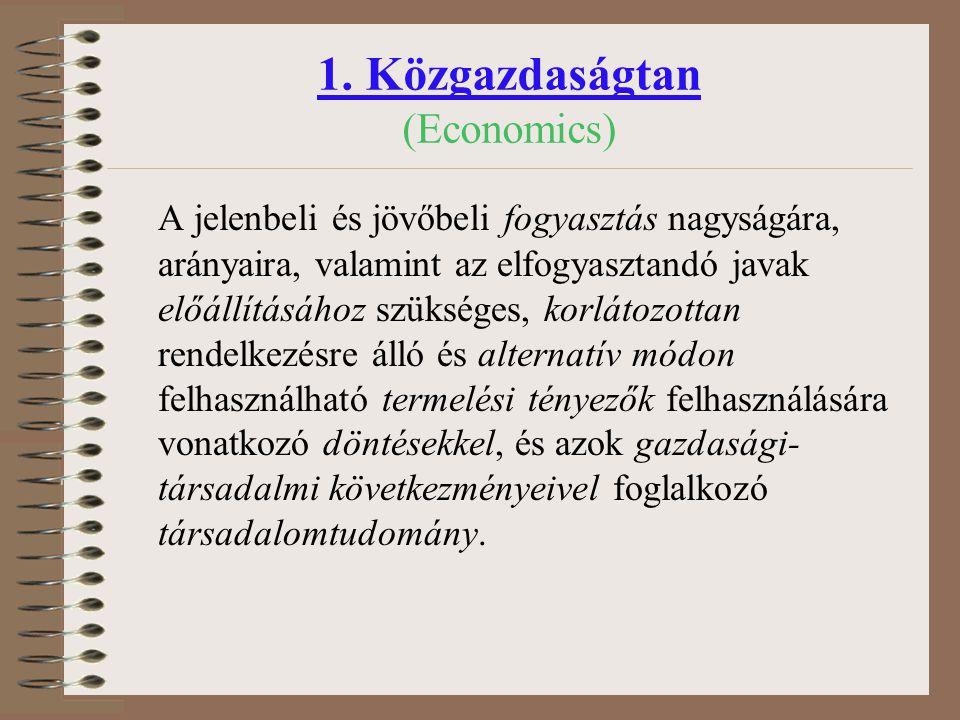 Elméleti közgazdaságtan –Mikroökonómia –Makroökonómia –Nemzetközi gazdaságtan –Összehasonlító gazdaságtan Alkalmazott közgazdaságtan –Vállalatgazdaságtan –Marketing –Pénzügy, számvitel stb…