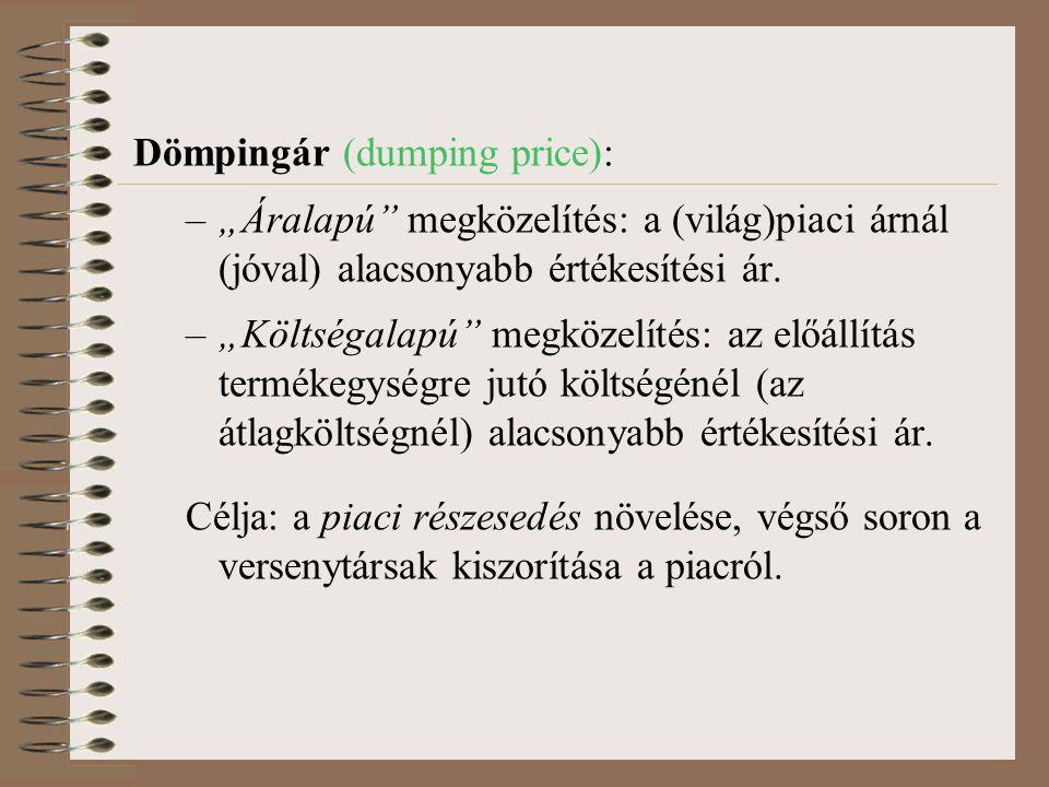"""Dömpingár (dumping price): –""""Áralapú"""" megközelítés: a (világ)piaci árnál (jóval) alacsonyabb értékesítési ár. –""""Költségalapú"""" megközelítés: az előállí"""