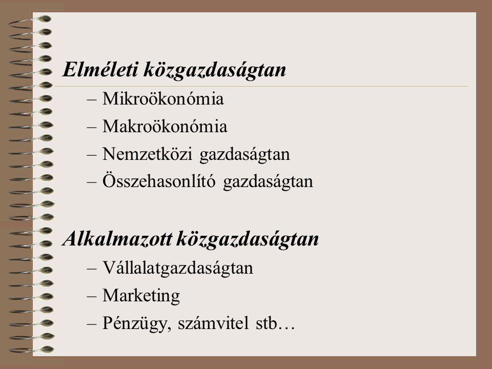 Mikroökonómia (Microeconomics) Makroökonómia (Macroeconomics) Az egyes fogyasztók (háztartások) és vállalkozások magatartását, döntési lehetőségeit és az egyes részpiacokat vizsgálja.