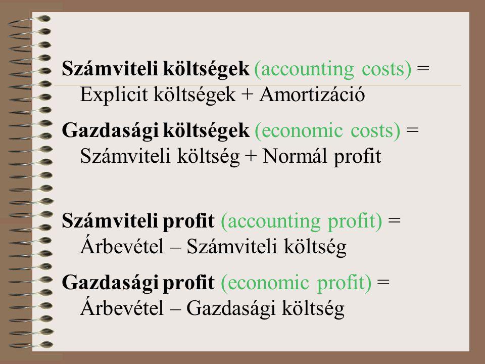 Számviteli költségek (accounting costs) = Explicit költségek + Amortizáció Gazdasági költségek (economic costs) = Számviteli költség + Normál profit S
