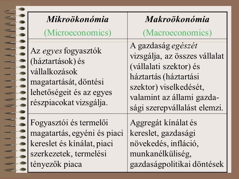 Mikroökonómia (Microeconomics) Makroökonómia (Macroeconomics) Az egyes fogyasztók (háztartások) és vállalkozások magatartását, döntési lehetőségeit és