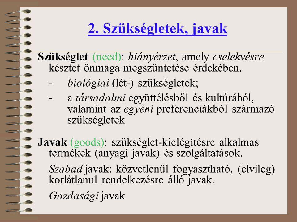 2. Szükségletek, javak Szükséglet (need): hiányérzet, amely cselekvésre késztet önmaga megszüntetése érdekében. - biológiai (lét-) szükségletek; - a t