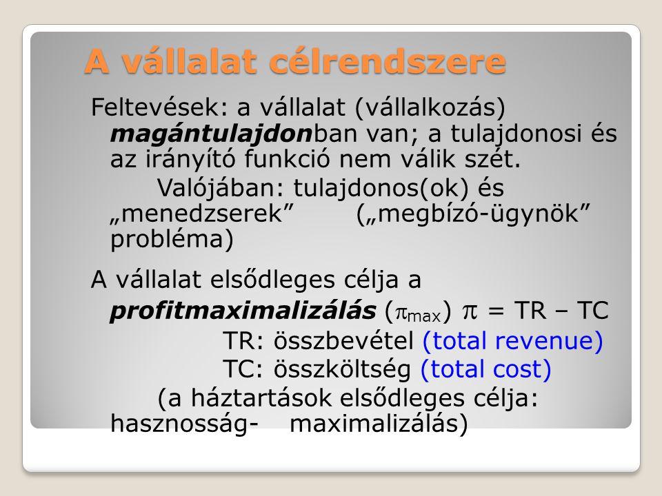 A vállalat célrendszere Feltevések: a vállalat (vállalkozás) magántulajdonban van; a tulajdonosi és az irányító funkció nem válik szét. Valójában: tul