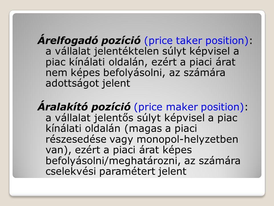 Árelfogadó pozíció (price taker position): a vállalat jelentéktelen súlyt képvisel a piac kínálati oldalán, ezért a piaci árat nem képes befolyásolni,
