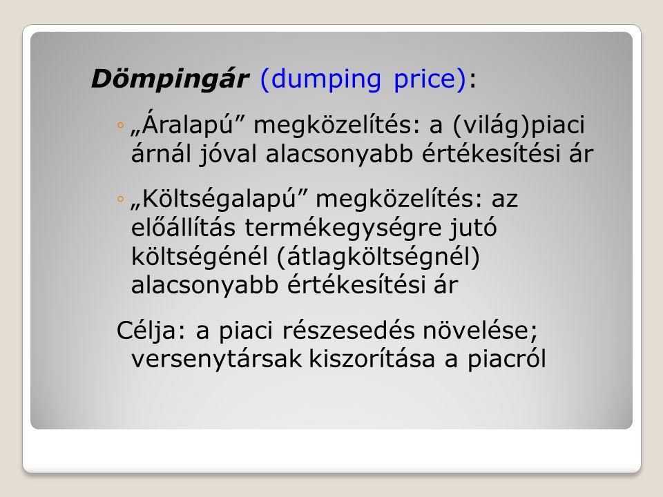 """Dömpingár (dumping price): ◦""""Áralapú"""" megközelítés: a (világ)piaci árnál jóval alacsonyabb értékesítési ár ◦""""Költségalapú"""" megközelítés: az előállítás"""