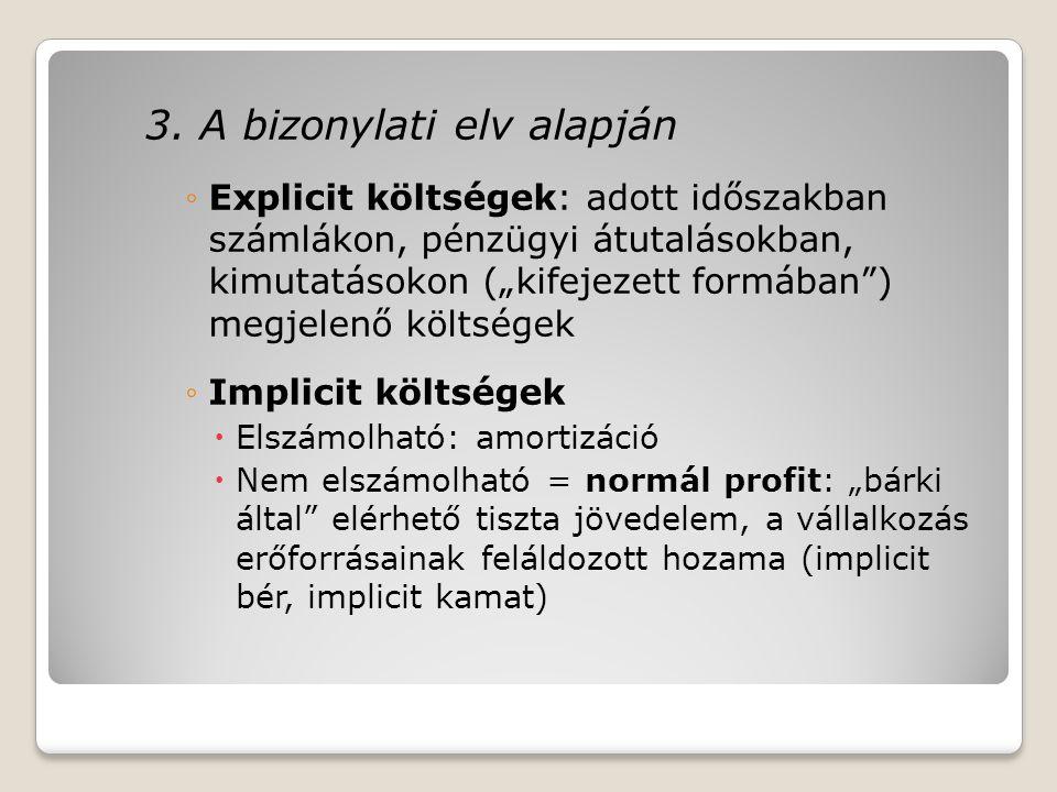 """3. A bizonylati elv alapján ◦Explicit költségek: adott időszakban számlákon, pénzügyi átutalásokban, kimutatásokon (""""kifejezett formában"""") megjelenő k"""