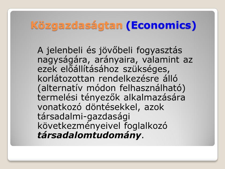 A közgazdaságtan tudományágai Elméleti közgazdaságtudományok ◦Mikroökonómia ◦Makroökonómia ◦Nemzetközi gazdaságtan ◦Összehasonlító gazdaságtan Alkalmazott közgazdaságtudományok ◦Vállalatgazdaságtan ◦Marketing ◦Pénzügy, számvitel stb…