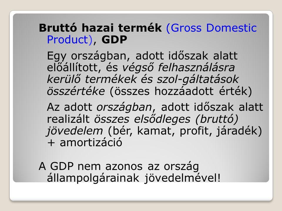 Bruttó hazai termék (Gross Domestic Product), GDP Egy országban, adott időszak alatt előállított, és végső felhasználásra kerülő termékek és szol-gált
