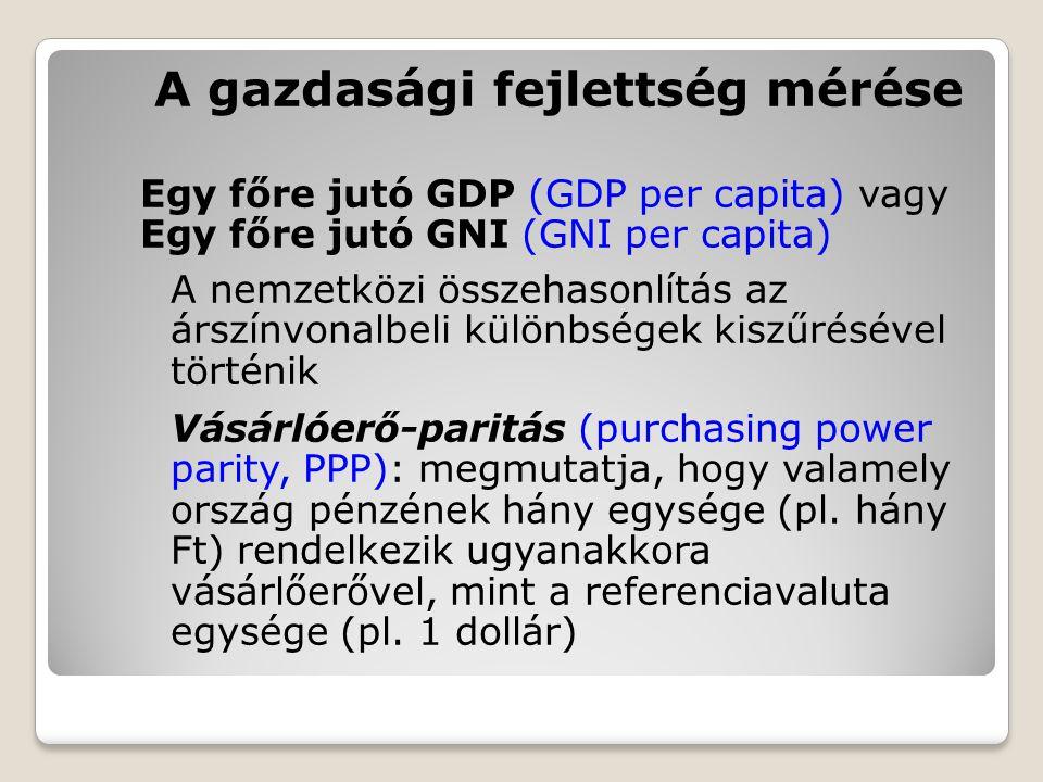 A gazdasági fejlettség mérése Egy főre jutó GDP (GDP per capita) vagy Egy főre jutó GNI (GNI per capita) A nemzetközi összehasonlítás az árszínvonalbe