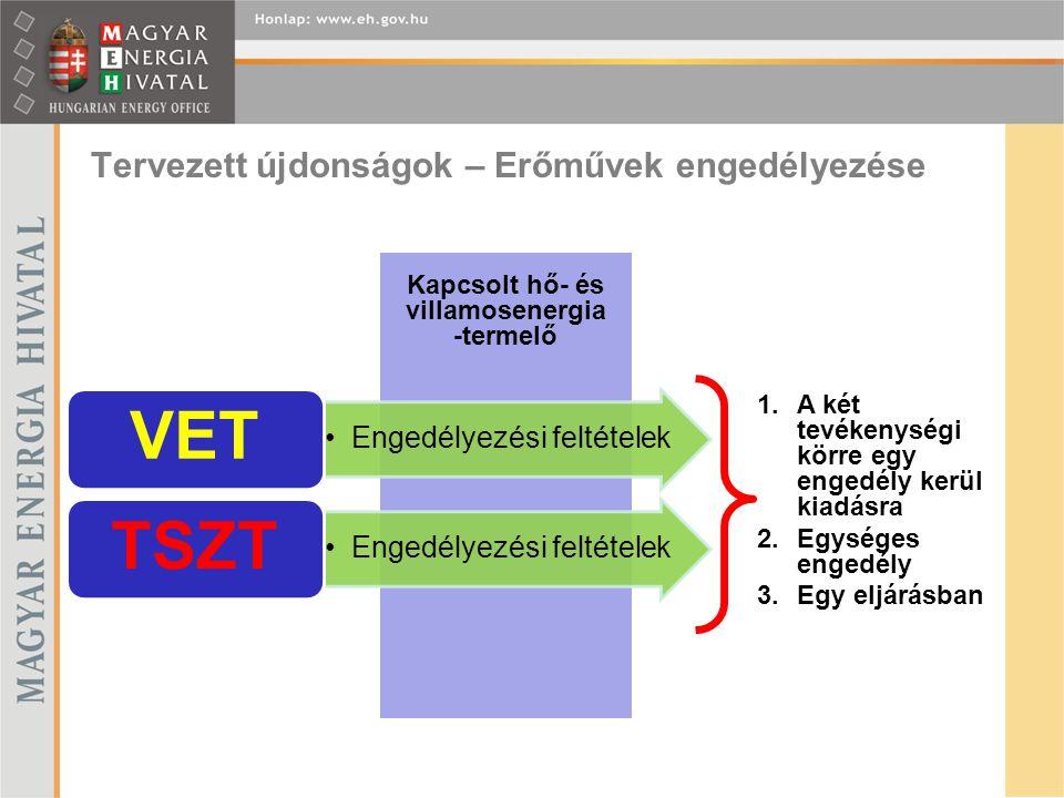 Tervezett újdonságok – Erőművek engedélyezése 1.A két tevékenységi körre egy engedély kerül kiadásra 2.Egységes engedély 3.Egy eljárásban Kapcsolt hő- és villamosenergia -termelő