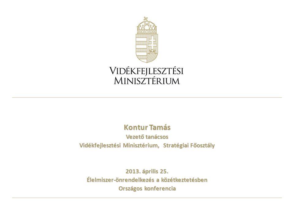 Kontur Tamás Vezető tanácsos Vidékfejlesztési Minisztérium, Stratégiai Főosztály 2013. április 25. Élelmiszer-önrendelkezés a közétkeztetésben Országo