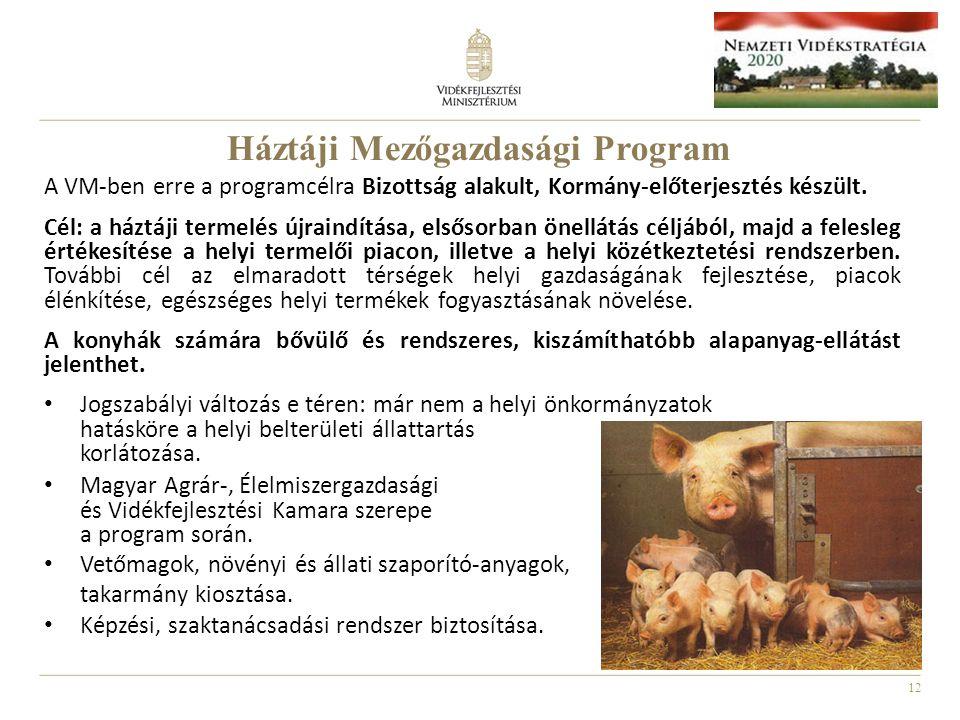 12 A VM-ben erre a programcélra Bizottság alakult, Kormány-előterjesztés készült. Cél: a háztáji termelés újraindítása, elsősorban önellátás céljából,