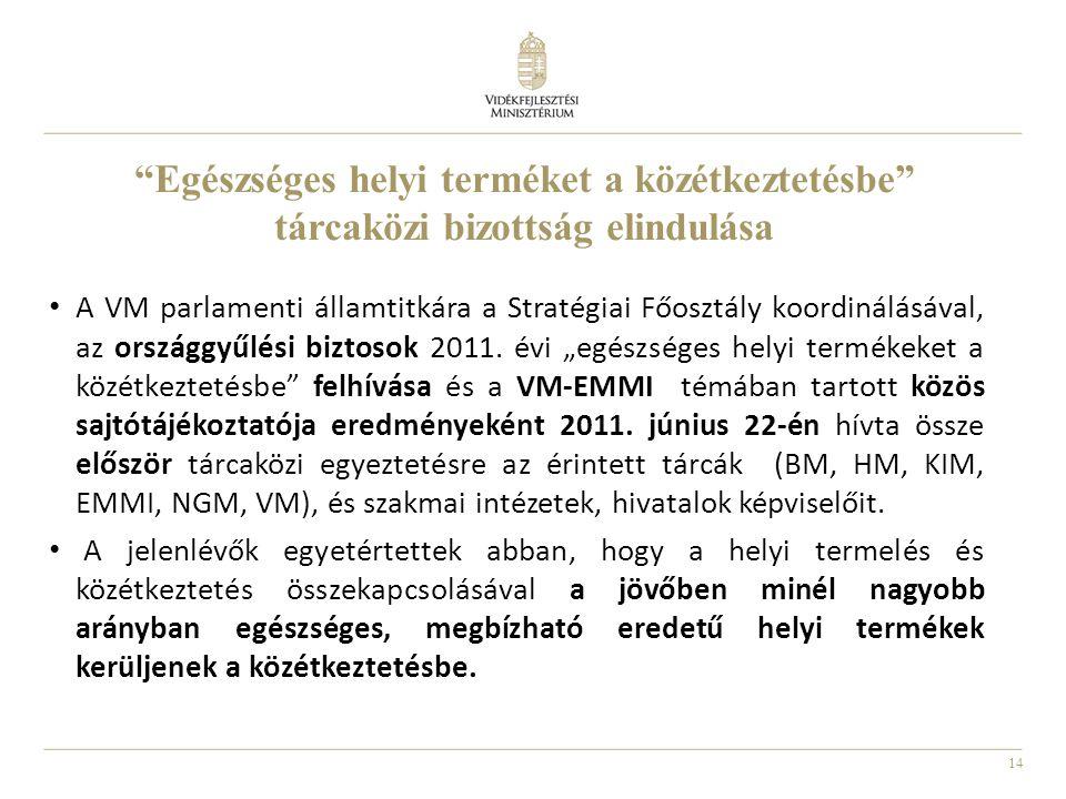 """14 """"Egészséges helyi terméket a közétkeztetésbe"""" tárcaközi bizottság elindulása A VM parlamenti államtitkára a Stratégiai Főosztály koordinálásával, a"""