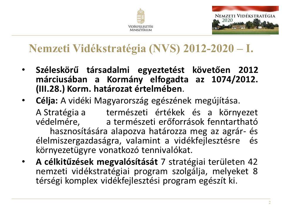 2 Nemzeti Vidékstratégia (NVS) 2012-2020 – I. Széleskörű társadalmi egyeztetést követően 2012 márciusában a Kormány elfogadta az 1074/2012. (III.28.)