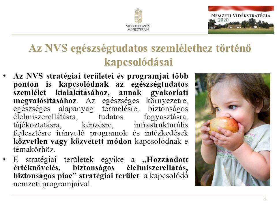 4 Az NVS egészségtudatos szemlélethez történő kapcsolódásai Az NVS stratégiai területei és programjai több ponton is kapcsolódnak az egészségtudatos s
