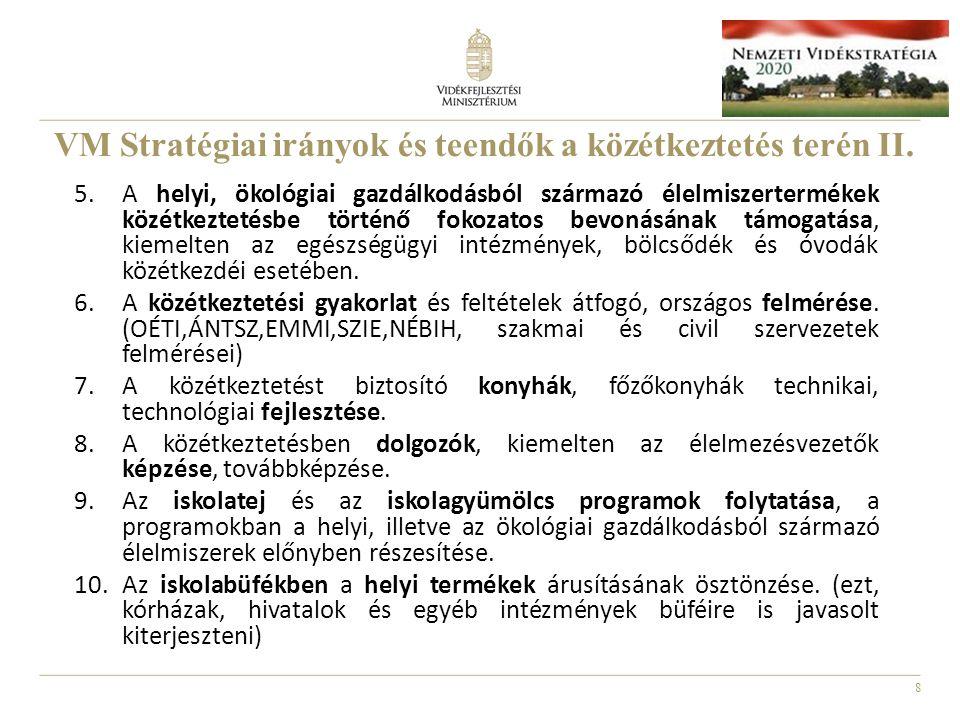 8 VM Stratégiai irányok és teendők a közétkeztetés terén II. 5.A helyi, ökológiai gazdálkodásból származó élelmiszertermékek közétkeztetésbe történő f