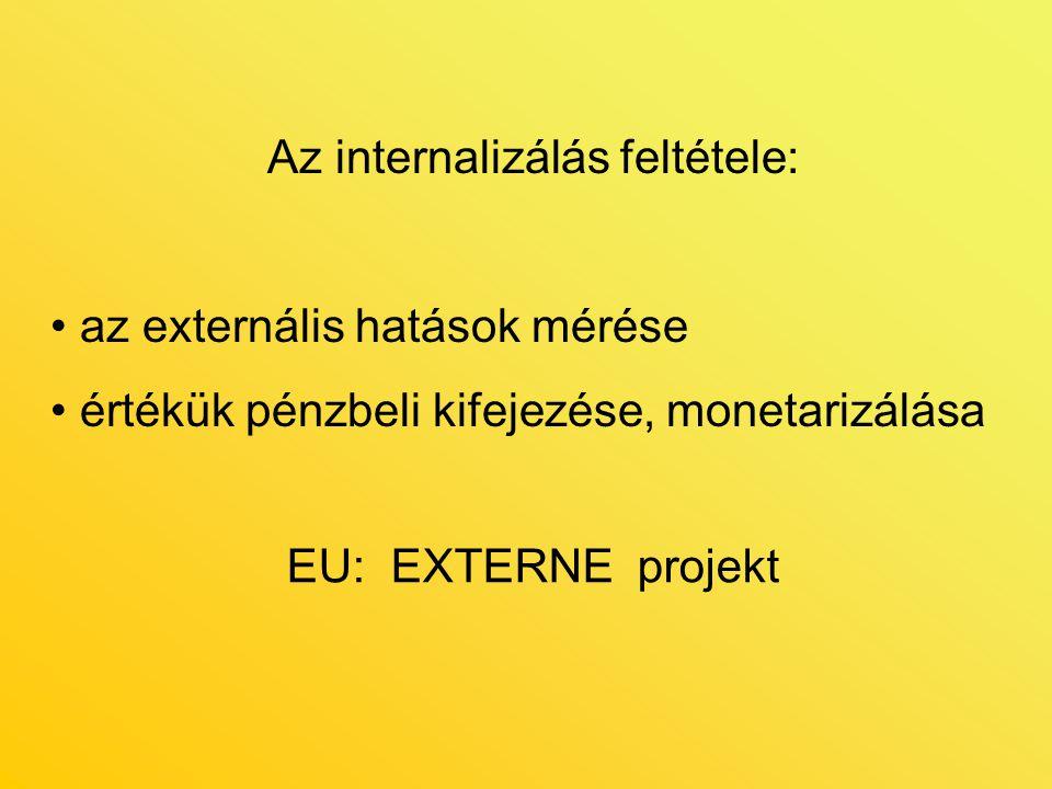 Az internalizálás feltétele: az externális hatások mérése értékük pénzbeli kifejezése, monetarizálása EU: EXTERNE projekt
