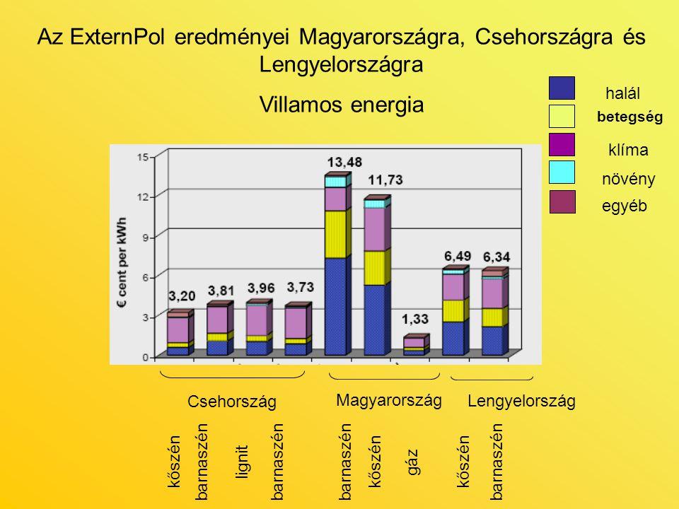 Csehország kőszénbarnaszénlignitkőszén gázbarnaszén Magyarország Lengyelország halál betegség egyéb klíma növény Az ExternPol eredményei Magyarországr