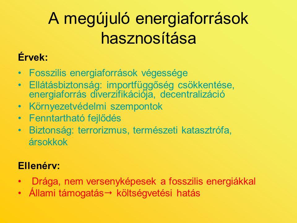 A megújuló energiaforrások hasznosítása Érvek: Fosszilis energiaforrások végessége Ellátásbiztonság: importfüggőség csökkentése, energiaforrás diverzi