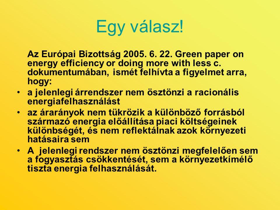 Egy válasz! Az Európai Bizottság 2005. 6. 22. Green paper on energy efficiency or doing more with less c. dokumentumában, ismét felhívta a figyelmet a