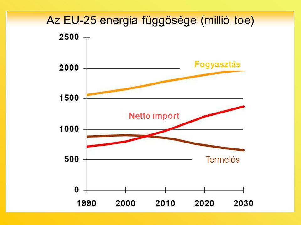 Az EU-25 energia függősége (millió toe) Fogyasztás Nettó import Termelés