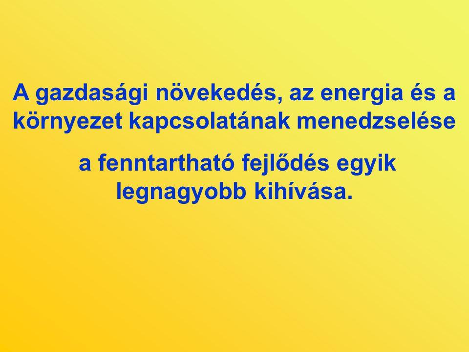 A gazdasági növekedés, az energia és a környezet kapcsolatának menedzselése a fenntartható fejlődés egyik legnagyobb kihívása.