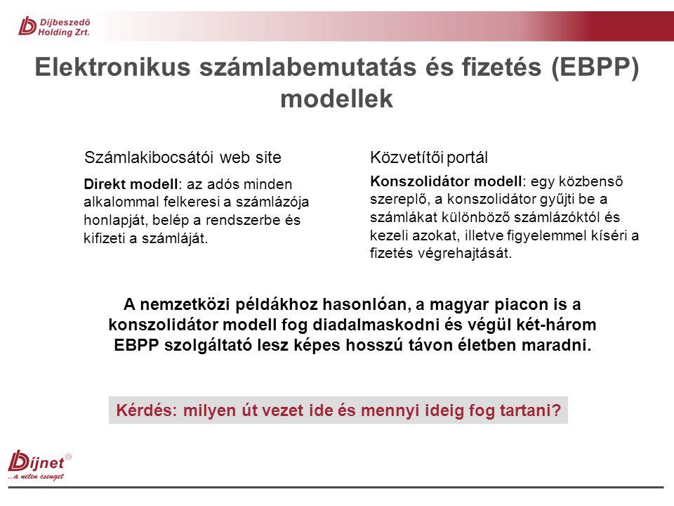 Elektronikus számlabemutatás és fizetés (EBPP) modellek Számlakibocsátói web site Közvetítői portál Direkt modell: az adós minden alkalommal felkeresi