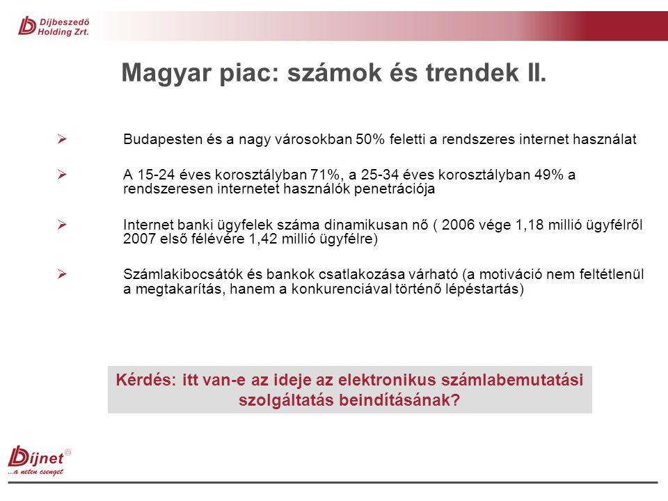 Magyar piac: számok és trendek II.  Budapesten és a nagy városokban 50% feletti a rendszeres internet használat  A 15-24 éves korosztályban 71%, a 2