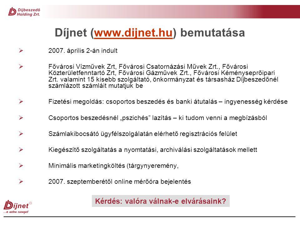 Tapasztalatok a Díjnet kapcsán  Fél év alatt 4.454 regisztrált felhasználó – 2.531 számlakibocsátói regisztrációval rendelkező ügyfél  15.000 bemutatott számla  2.000 fős minta alapján fizetési szokások változásának fő megállapításai: - banki átutalás vs.