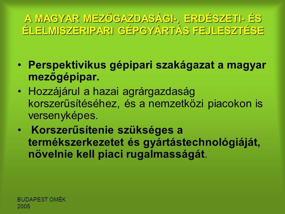 BUDAPEST OMÉK 2005 A MAGYAR MEZŐGAZDASÁGI-, ERDÉSZETI- ÉS ÉLELMISZERIPARI GÉPGYÁRTÁS FEJLESZTÉSE Perspektivikus gépipari szakágazat a magyar mezőgépipar.
