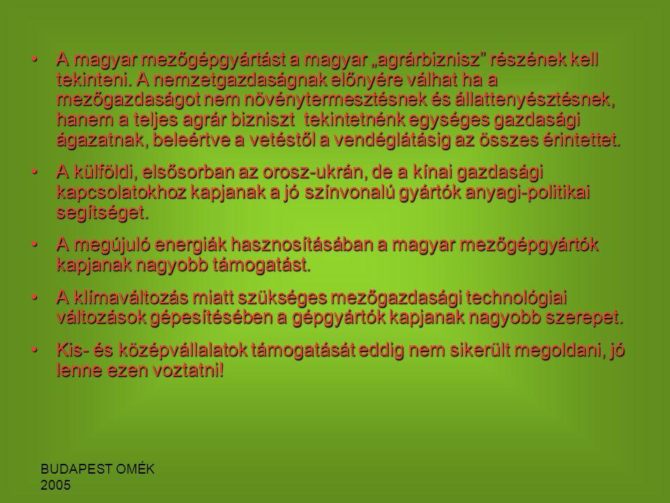 """BUDAPEST OMÉK 2005 A magyar mezőgépgyártást a magyar """"agrárbiznisz részének kell tekinteni."""