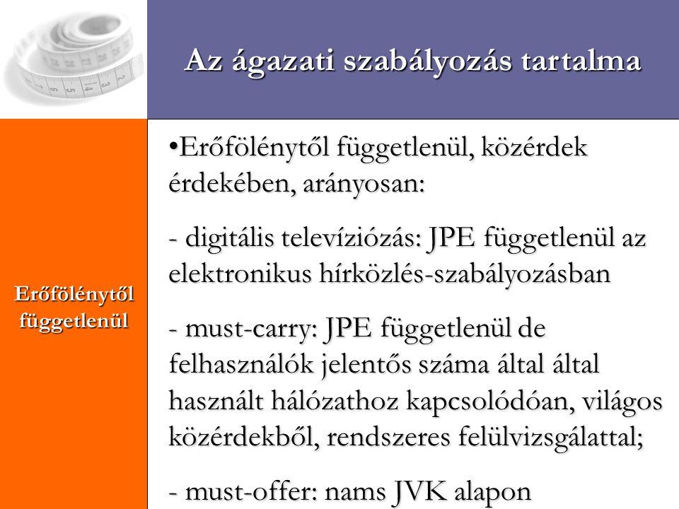 Kihívások Erőfölénytől függetlenül Az ágazati szabályozás tartalma Erőfölénytől függetlenül, közérdek érdekében, arányosan:Erőfölénytől függetlenül, közérdek érdekében, arányosan: - digitális televíziózás: JPE függetlenül az elektronikus hírközlés-szabályozásban - must-carry: JPE függetlenül de felhasználók jelentős száma által által használt hálózathoz kapcsolódóan, világos közérdekből, rendszeres felülvizsgálattal; - must-offer: nams JVK alapon