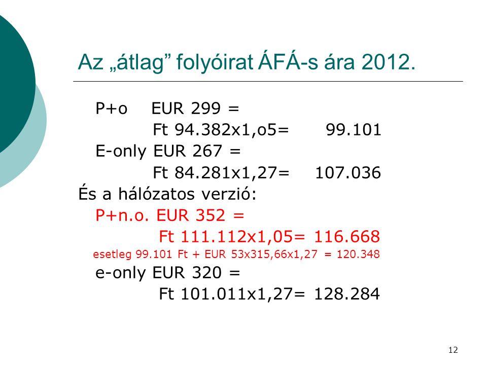 """12 Az """"átlag"""" folyóirat ÁFÁ-s ára 2012. P+o EUR 299 = Ft 94.382x1,o5= 99.101 E-only EUR 267 = Ft 84.281x1,27= 107.036 És a hálózatos verzió: P+n.o. EU"""