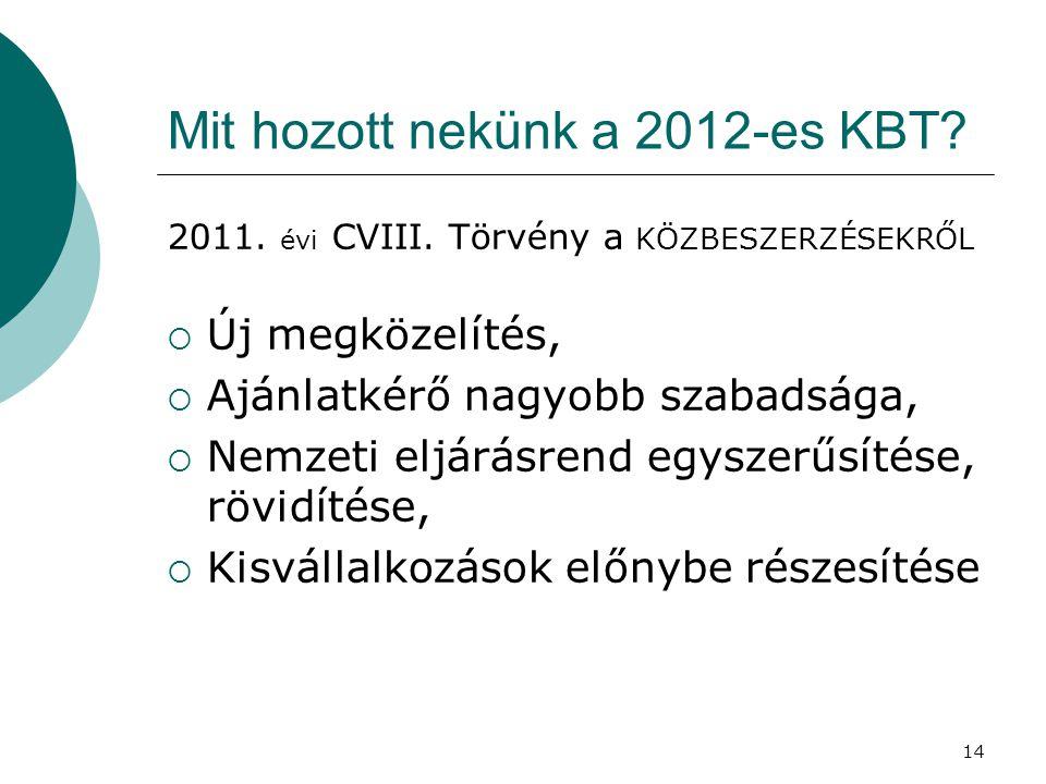 14 Mit hozott nekünk a 2012-es KBT? 2011. évi CVIII. Törvény a KÖZBESZERZÉSEKRŐL  Új megközelítés,  Ajánlatkérő nagyobb szabadsága,  Nemzeti eljárá